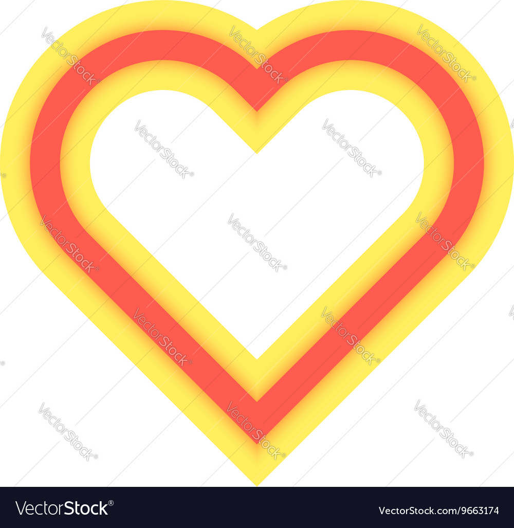 Yellow and red luminous heart icon