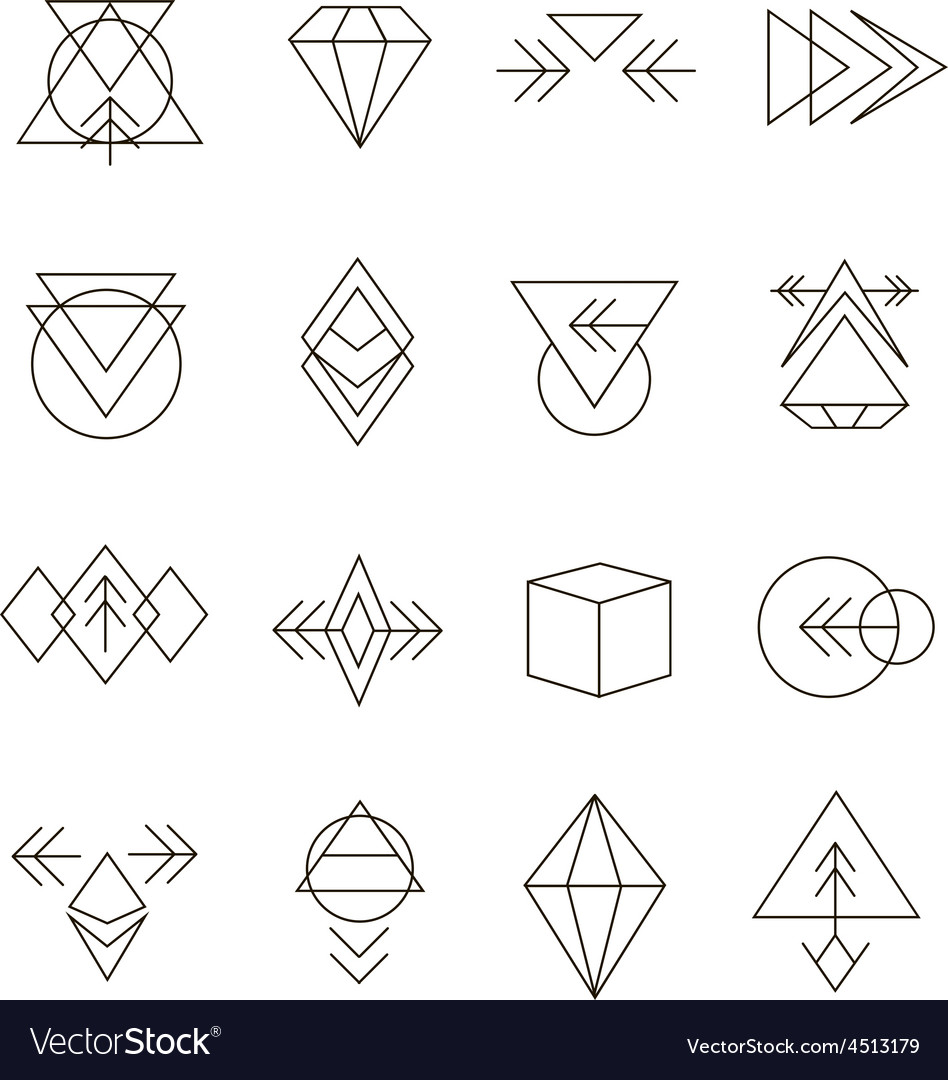 Abstract Geometric Set with Hipster Style Icons