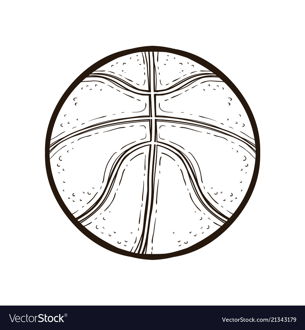 Basketball ball isolated coloring book Royalty Free Vector