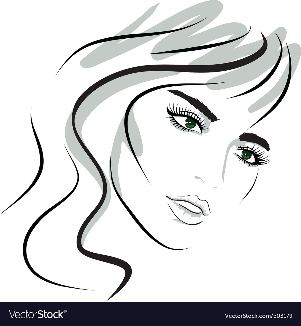 Beauty girl face design elements vector image