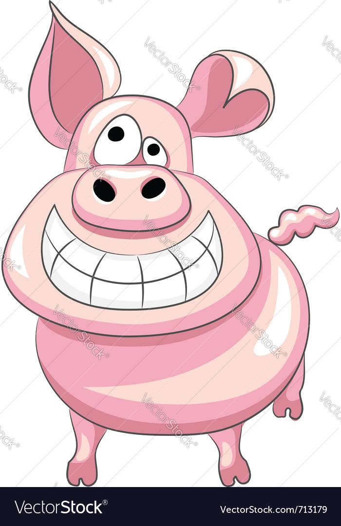 Happy pig smile vector image