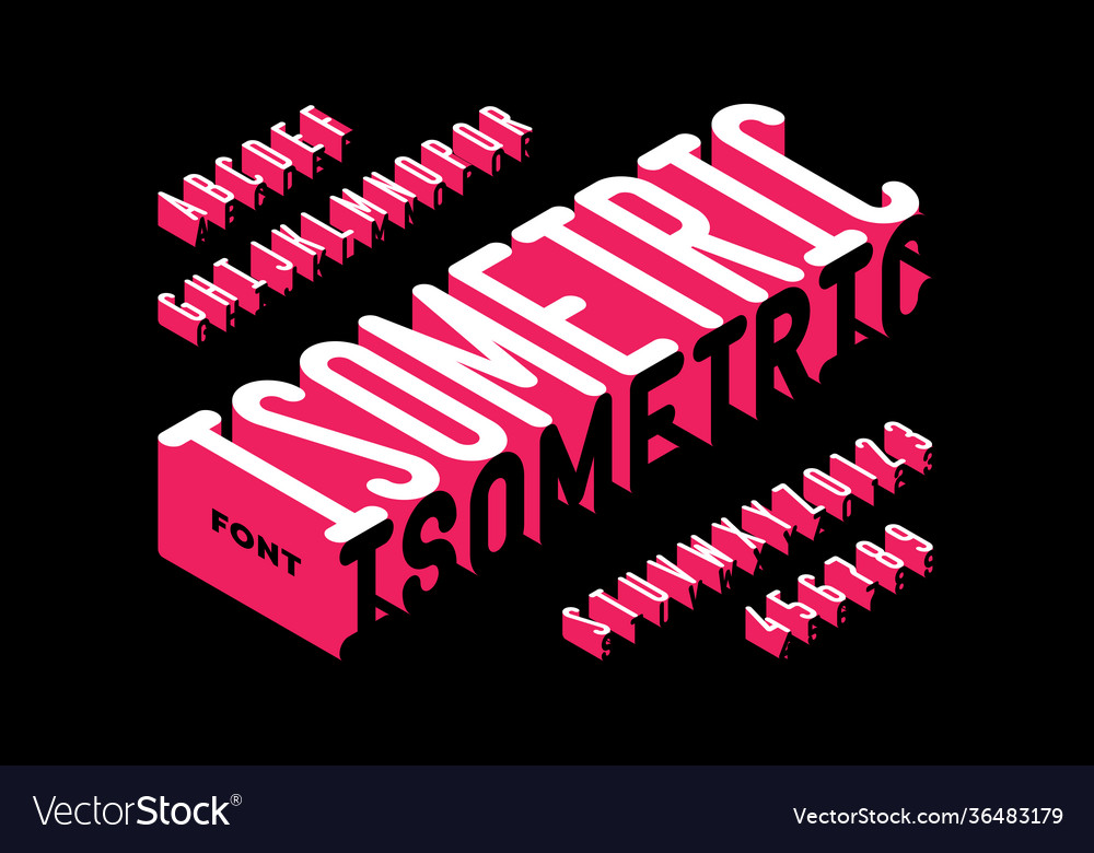 Isometric 3d style font typography design