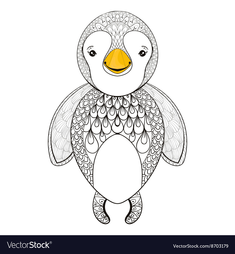 Pinguin for adult coloring page Hand drawn