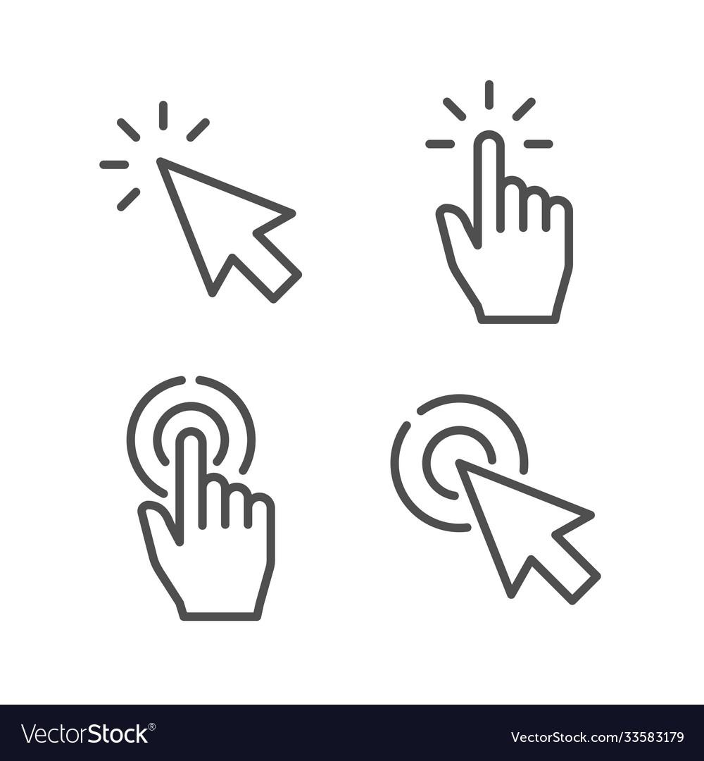 Pointer line icon hand touch gesture