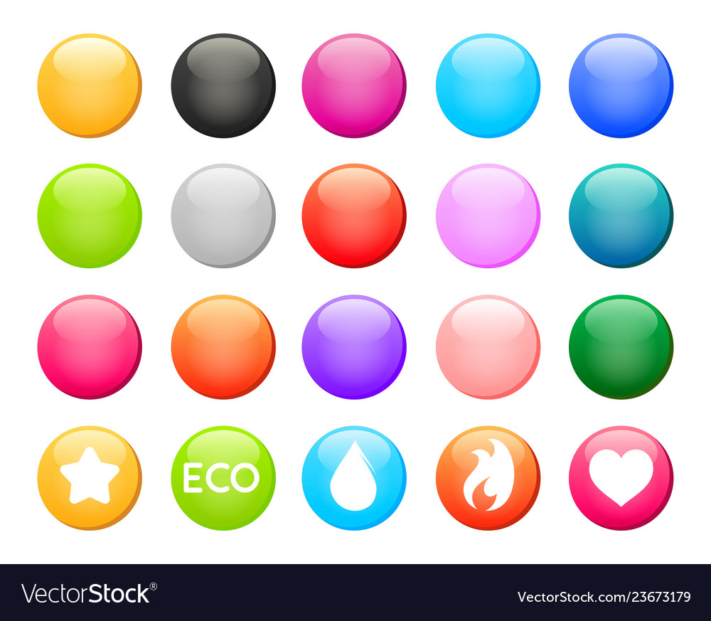 Set of colorful round button icons design