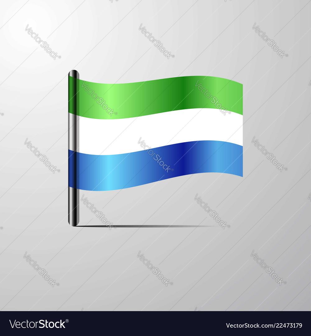 Sierra leone waving shiny flag design