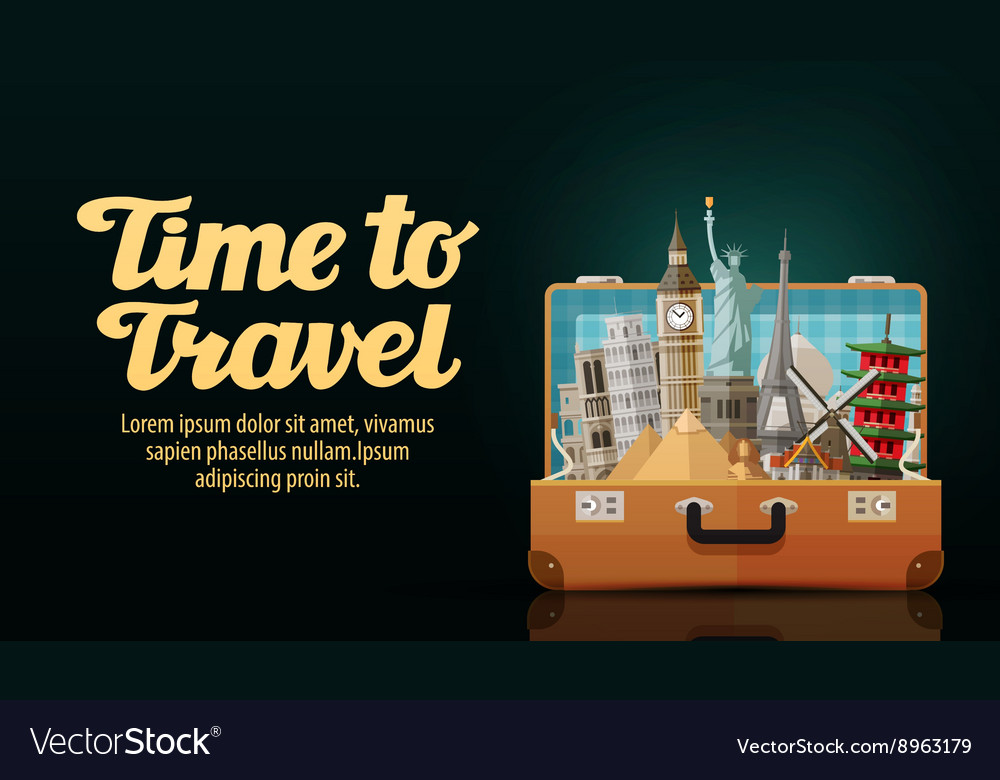 Time to travel historic buildings countries of vector image