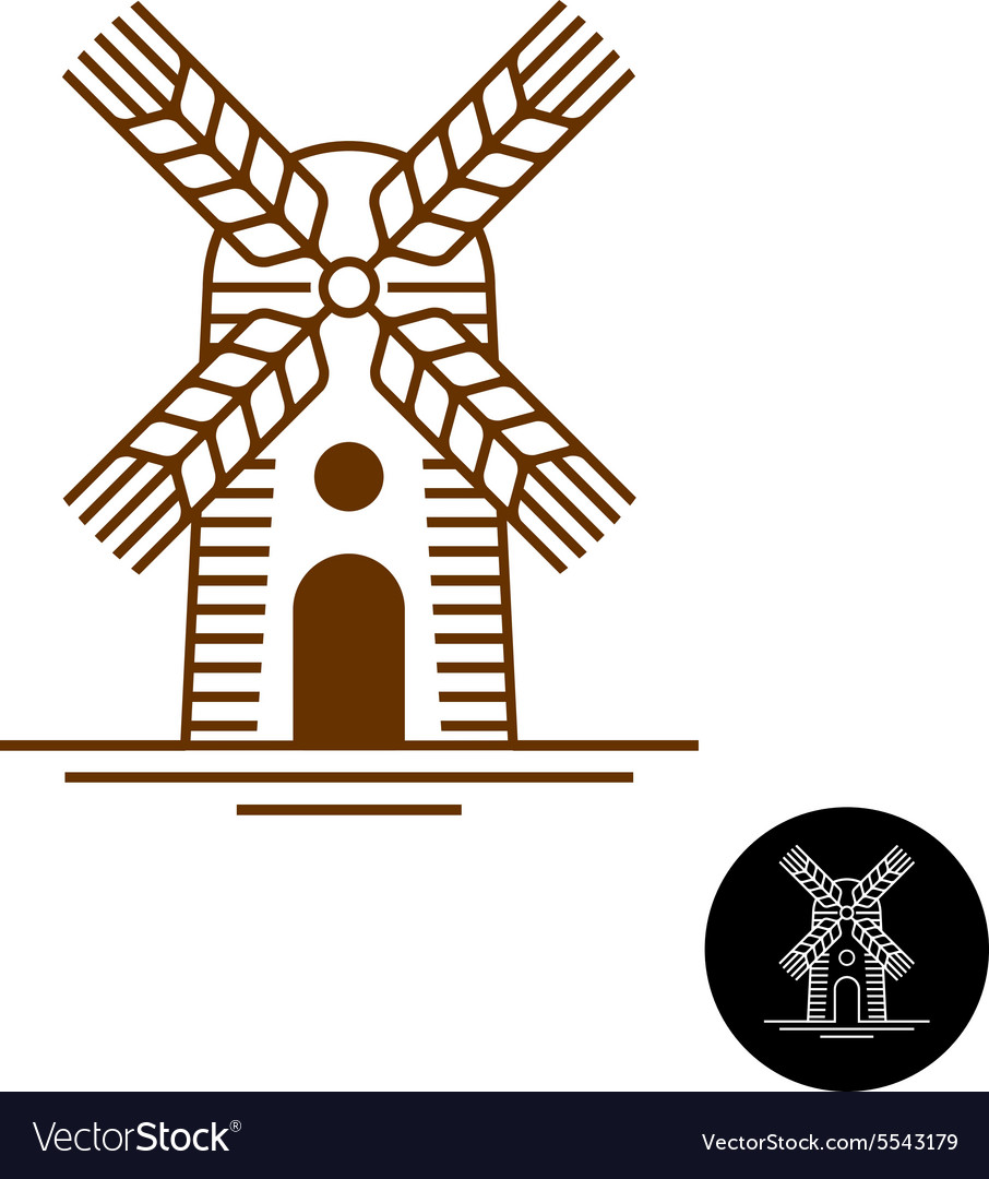 Windmill linear style logo with sweeps as a wheat vector image