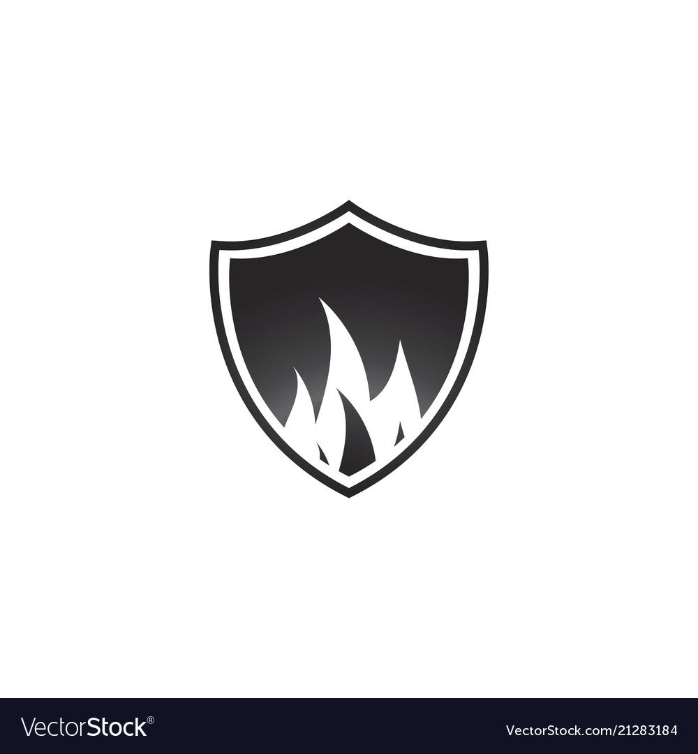 Abstract black fire shield logo design