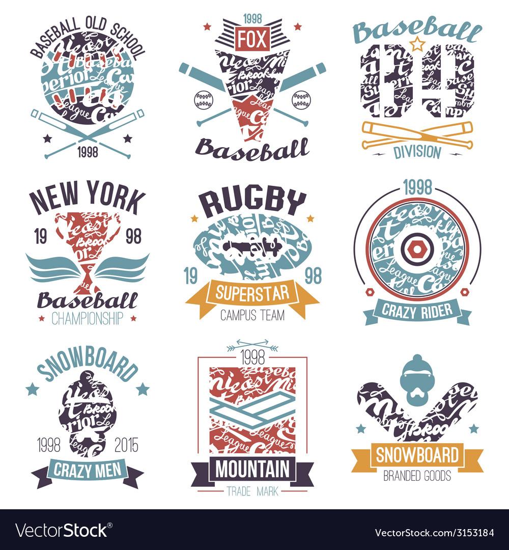 Baseball rugby snowboard skateboard sport emblems vector image