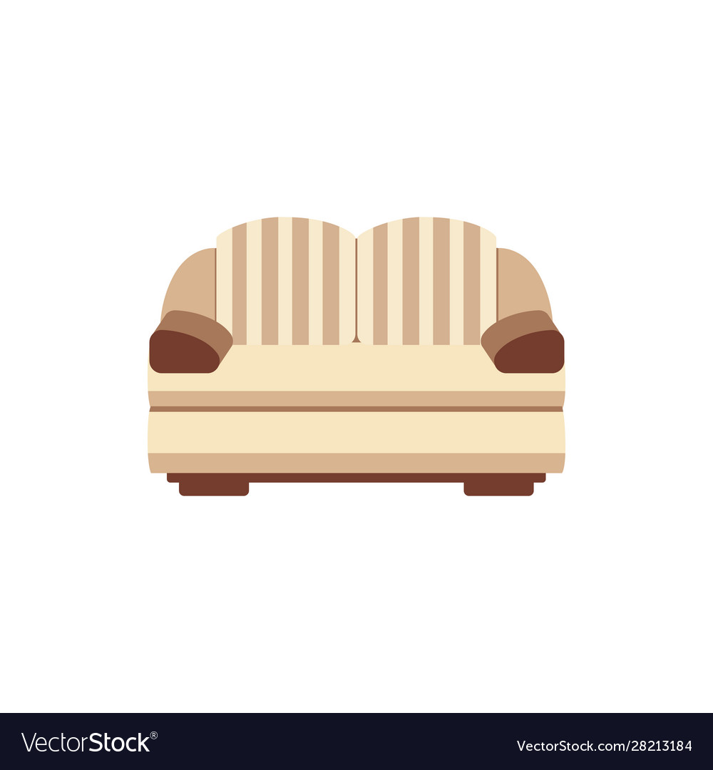 Brown and beige living room couch isolated on