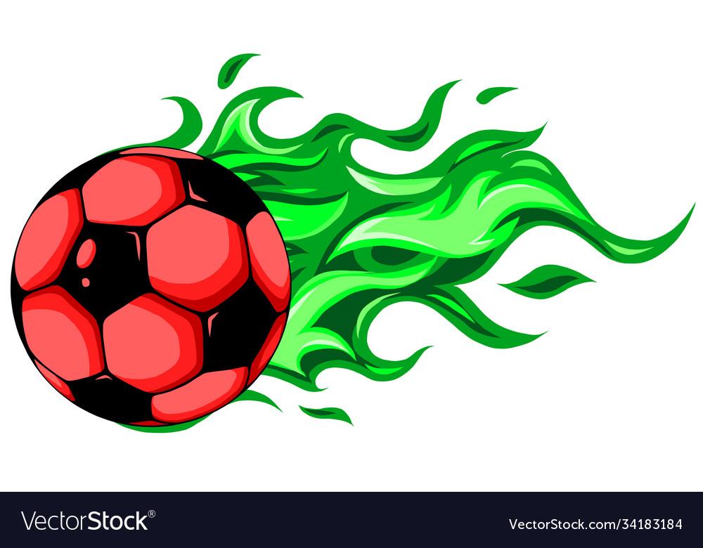 Burning soccer ball on white background
