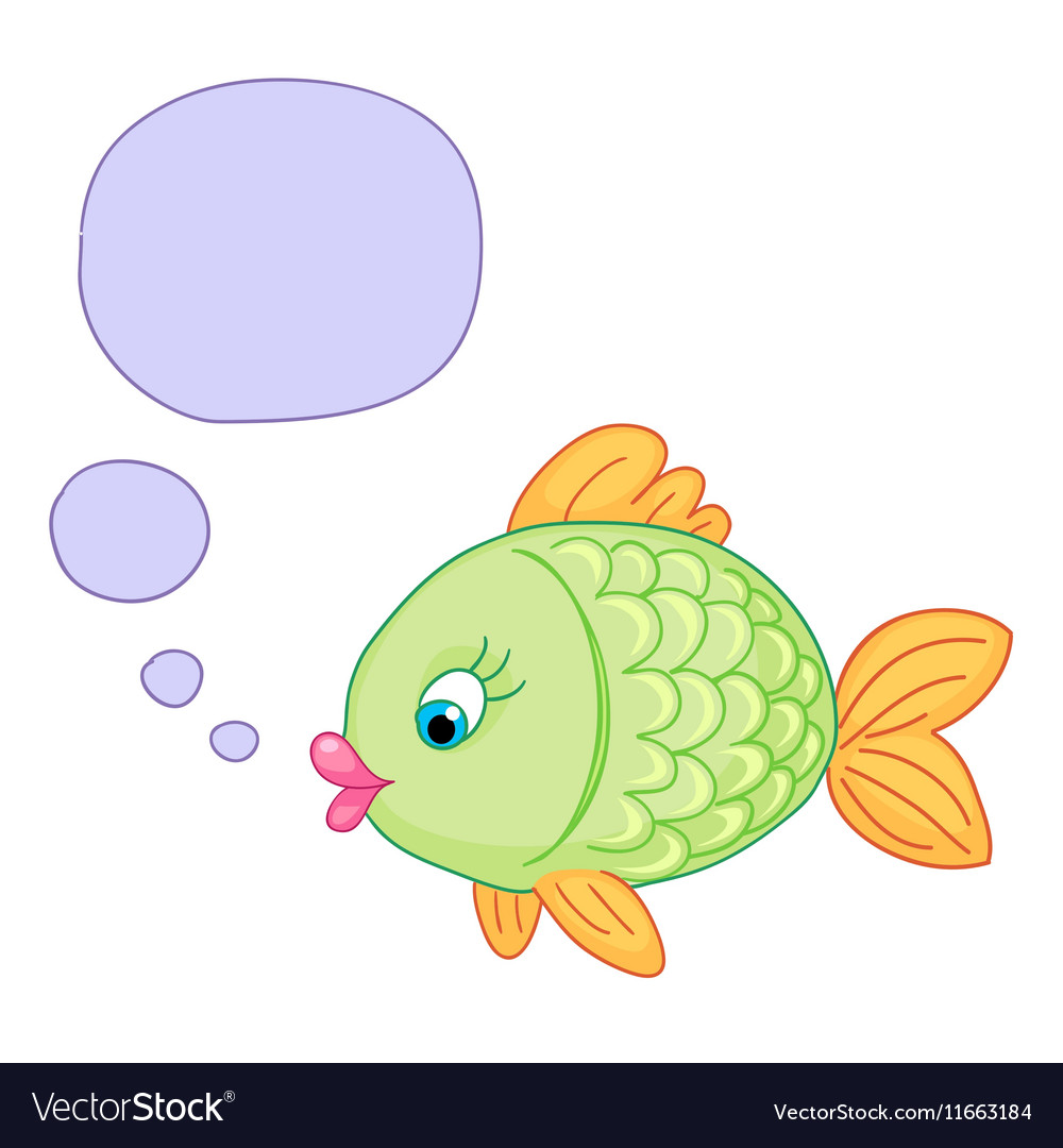 Cute baby fish draw vector image
