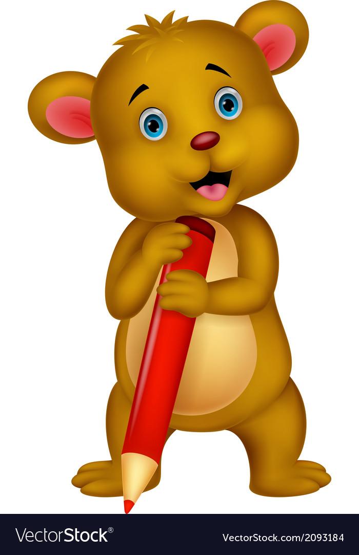 Cute brown bear cartoon holding red pencil