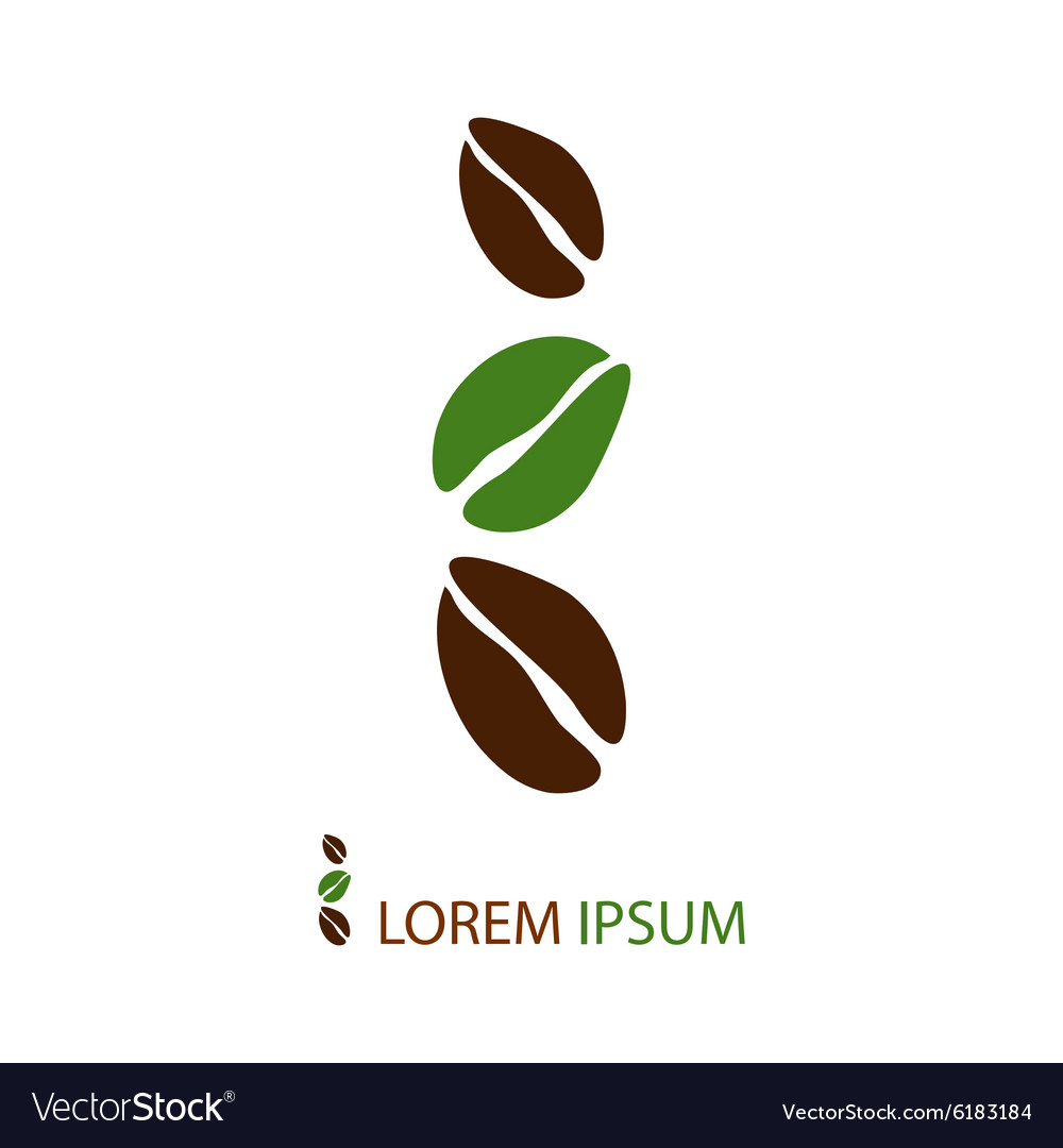 Green and brown coffee beans as logo vector image