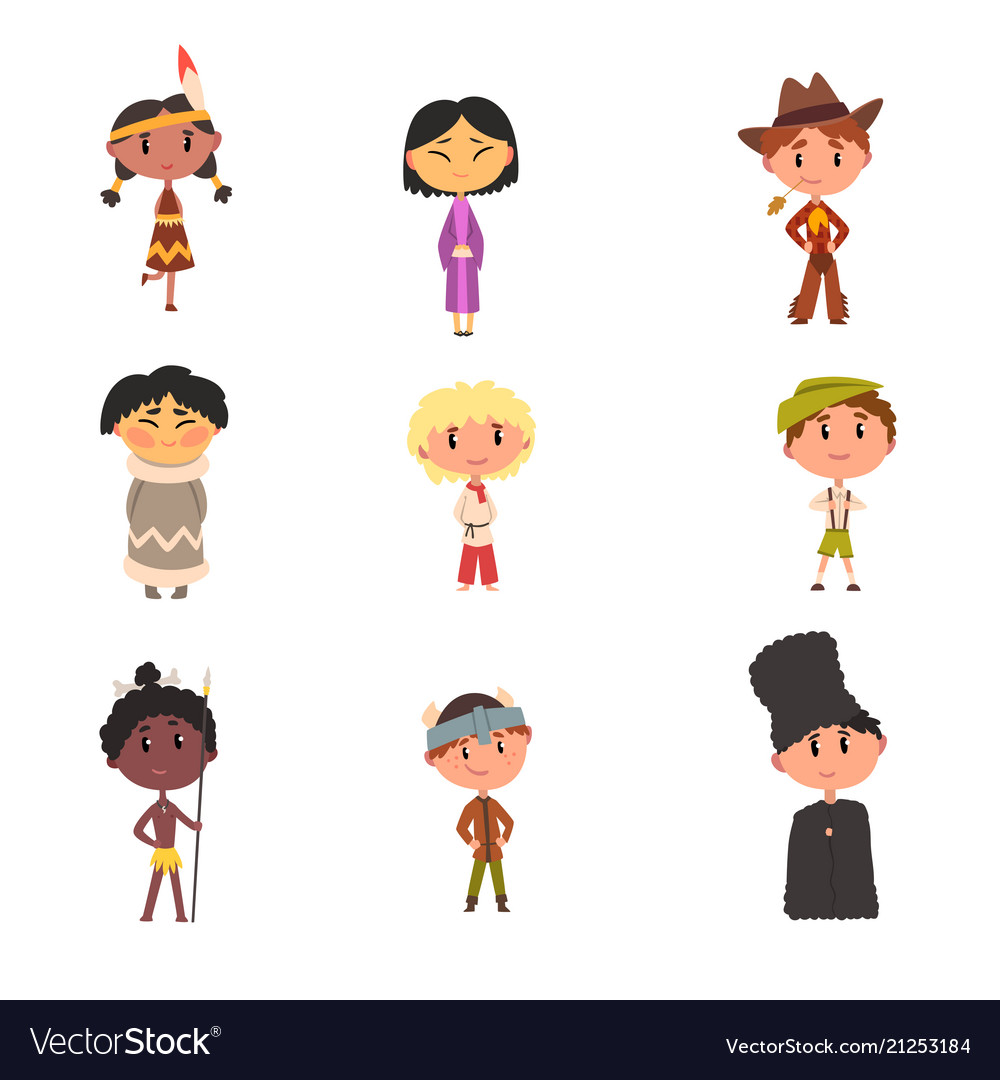 Kids in national clothes boys and girls cartoon