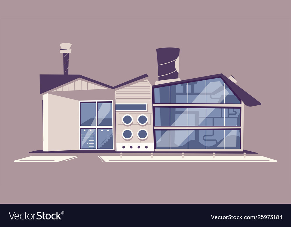 Modern green eco factory building cartoon