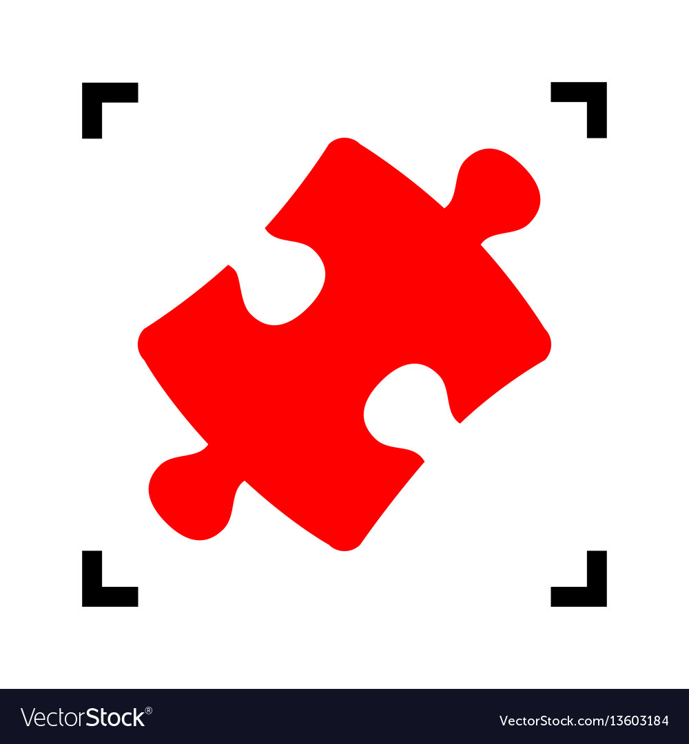 Puzzle piece sign red icon inside black vector image