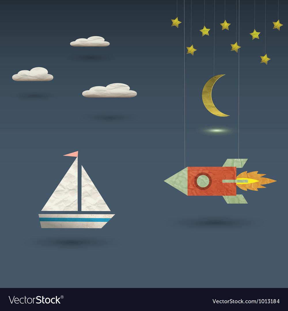 Retro rocket and sailboat vector image