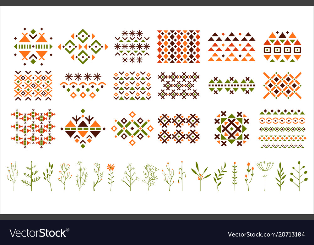 Set of colorful ethnic patterns decorative