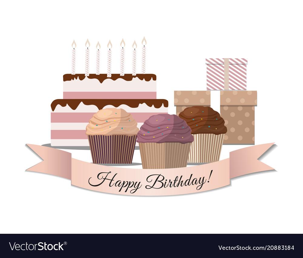 Set of sweet cupcake birthday cake and gifts
