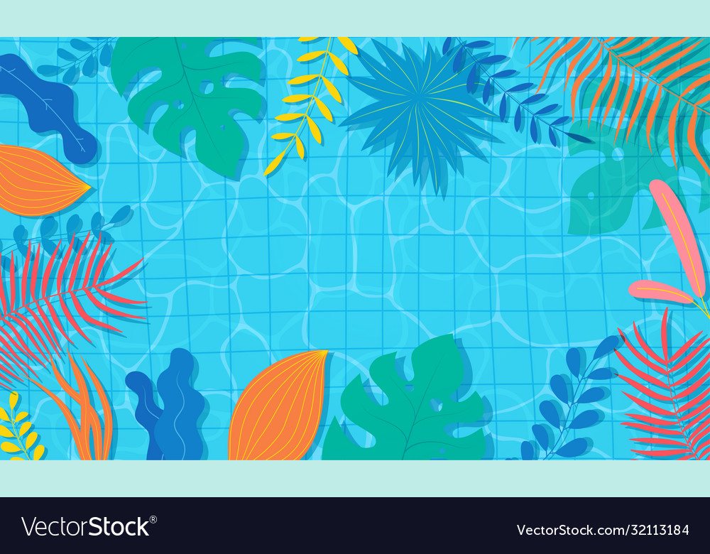 Summer pool with floral tropical exotic plants