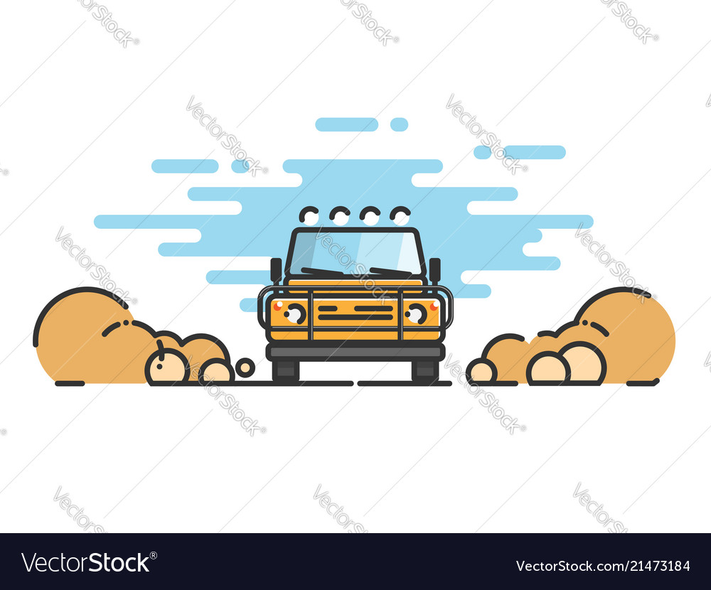 Thin line flat design of car jeep in motion on a