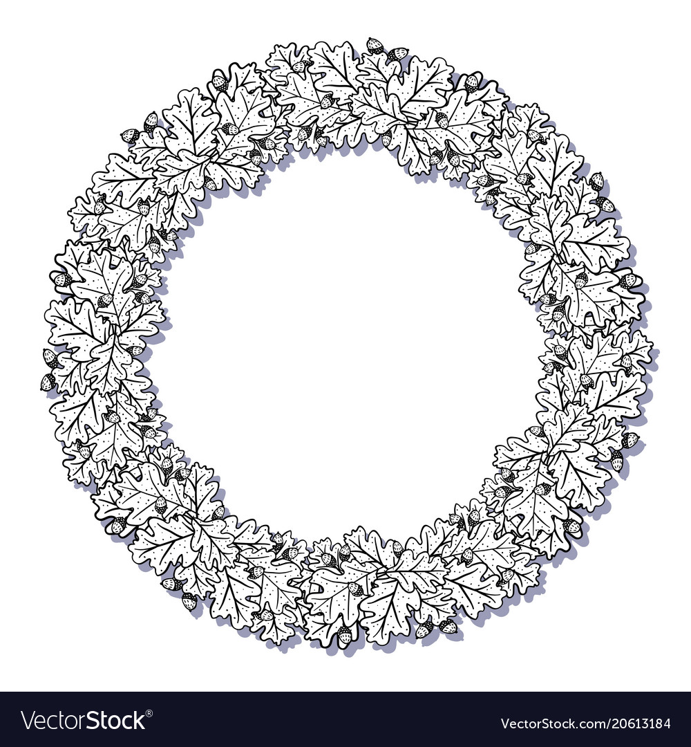 wreath with oak leaves decorative circle frame vector image