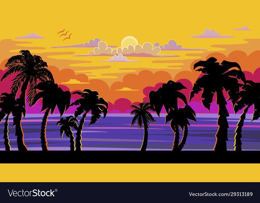 A beautiful sunset sunrise with palm trees