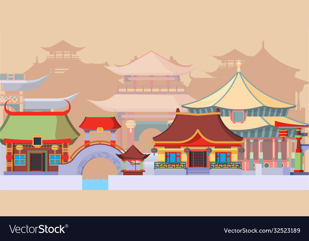 Ancient asian temples and buildings