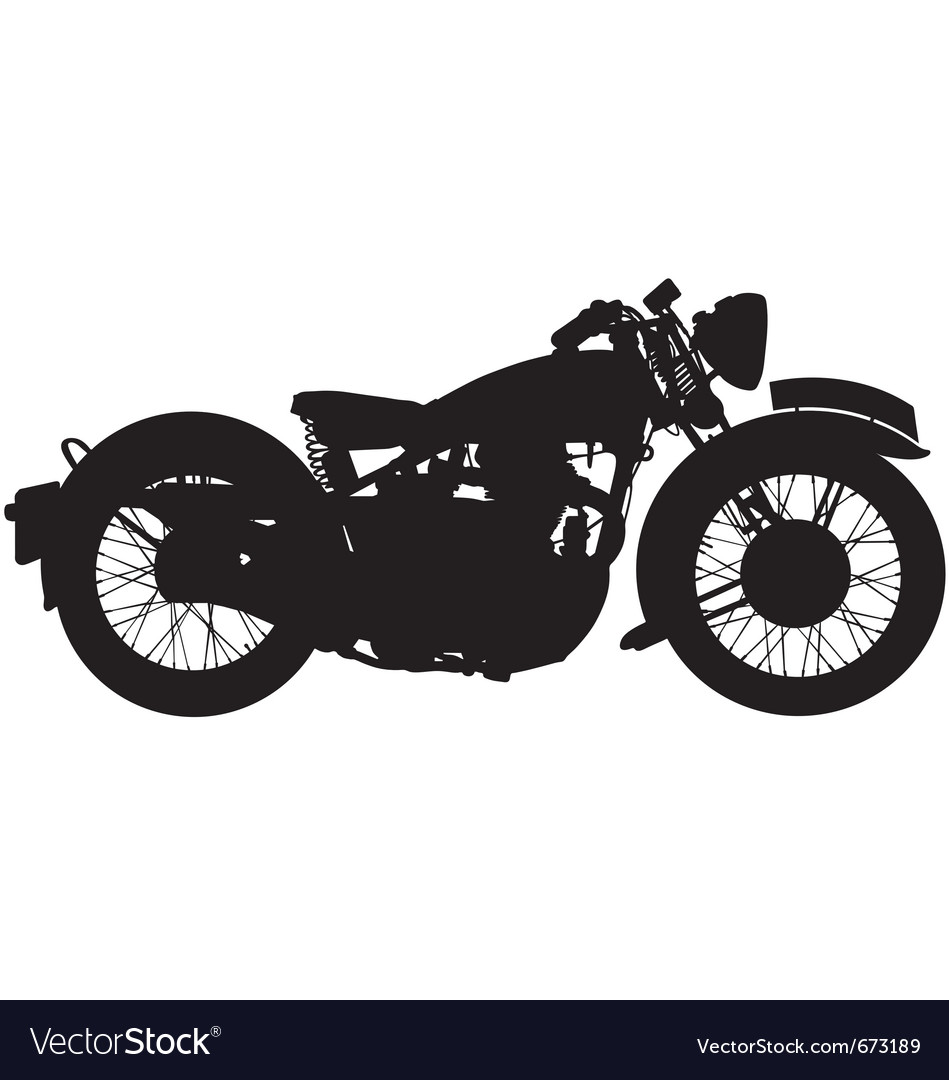 Classic motorbike silhouette Royalty Free Vector Image