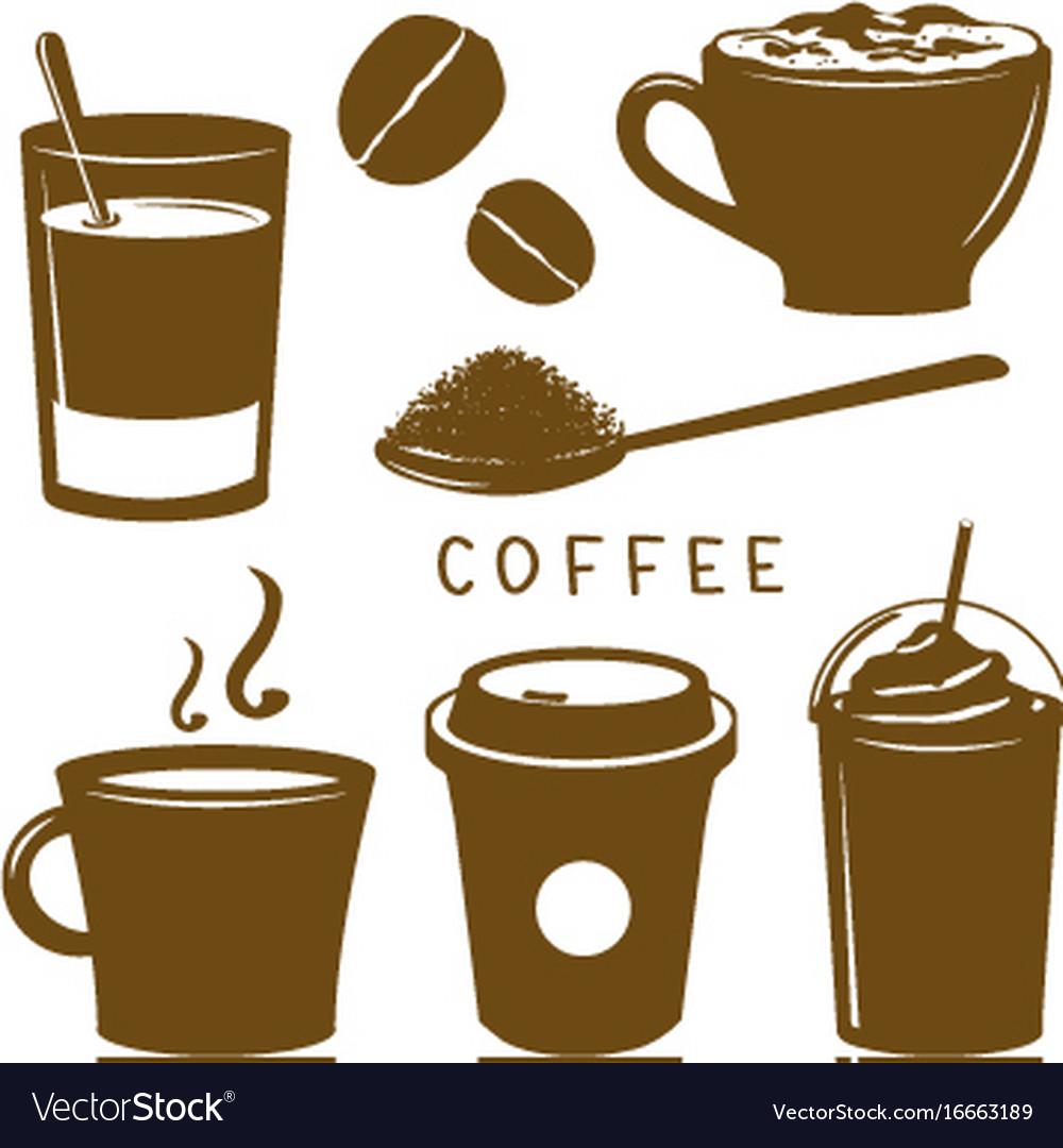 Coffee cup breakfast icon brown cartoon vector image