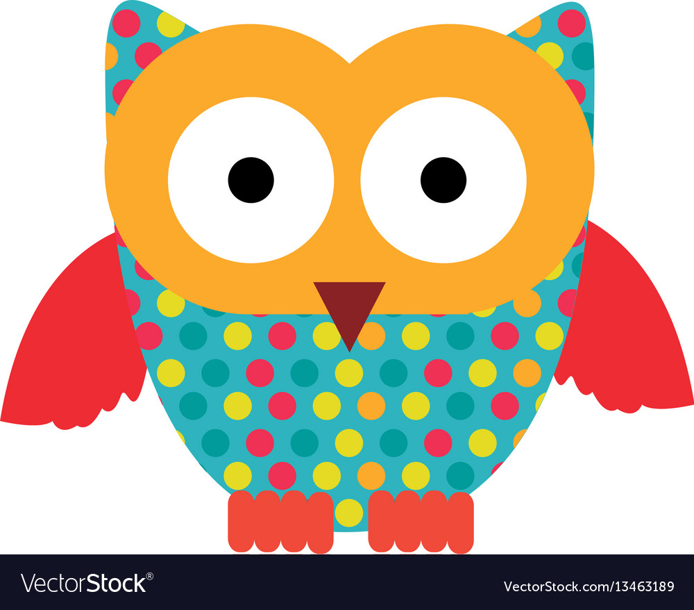 Color sticker owl icon vector image