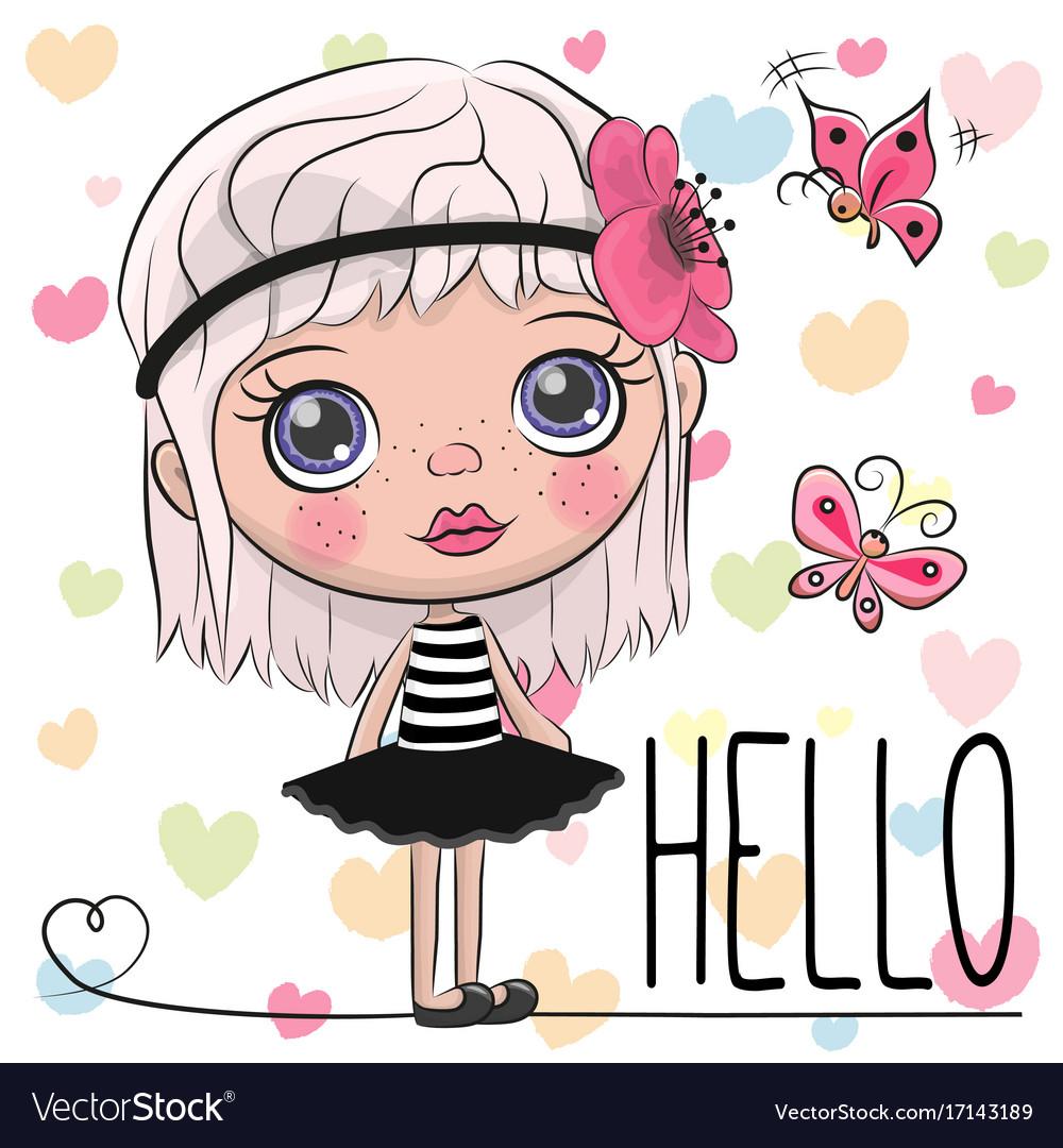 Cute cartoon girl with a flower