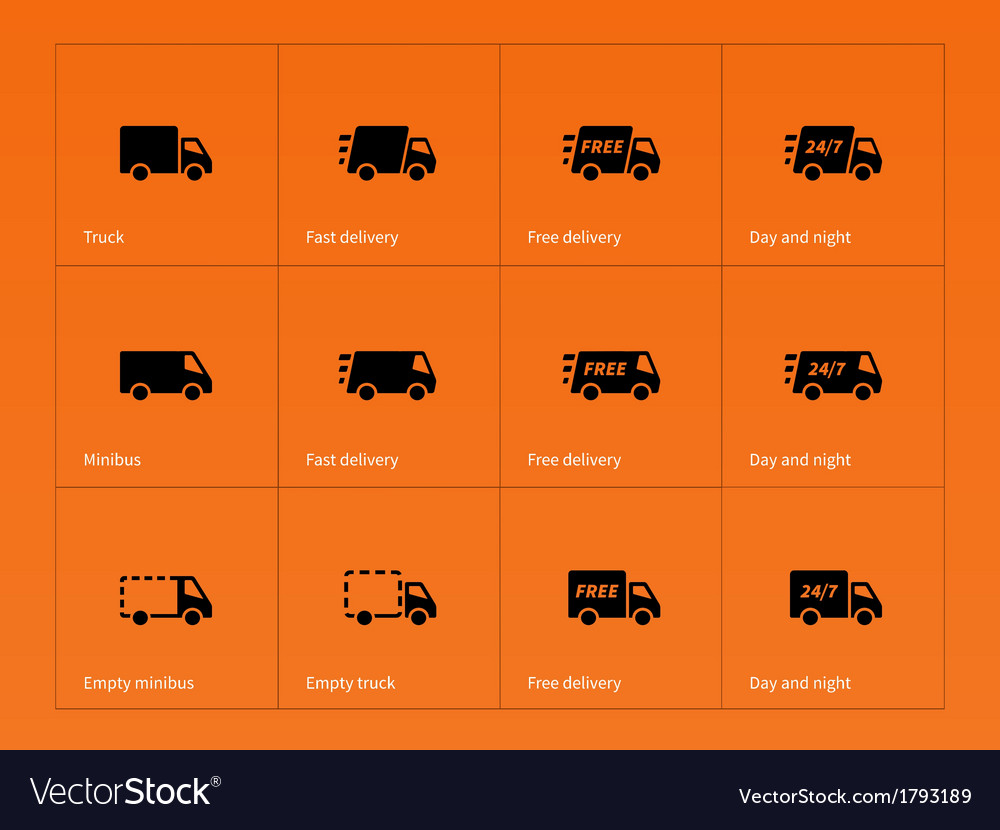 Delivery Trucks icons on orange background