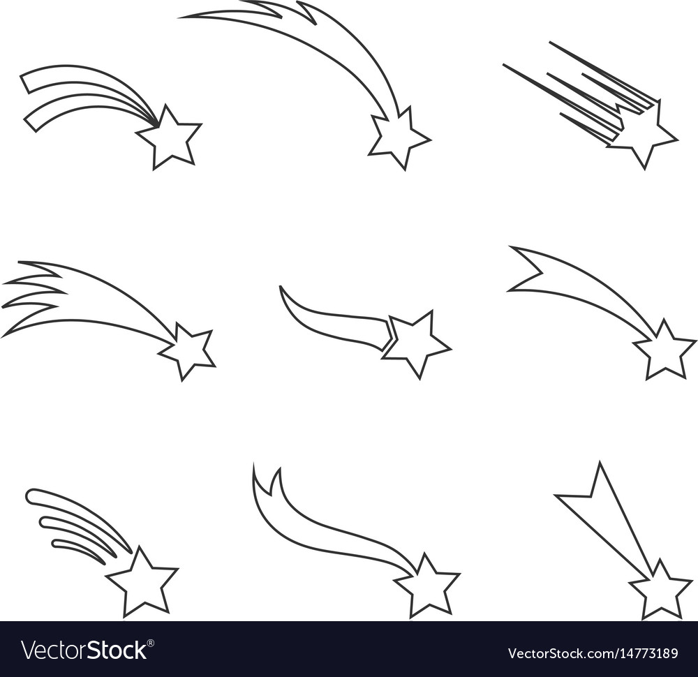 Falling stars icons in a thin line vector image