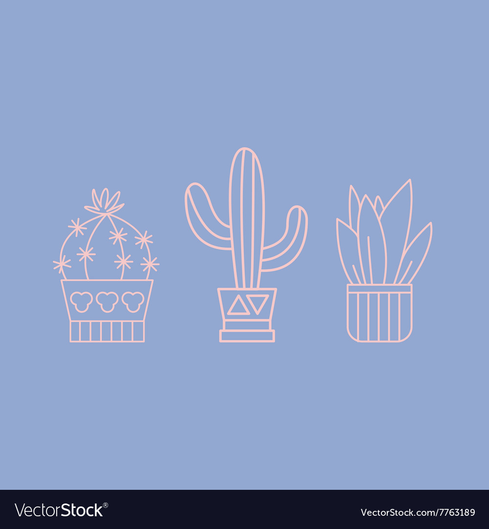 Plants and Cactuses in Pots Linear Set