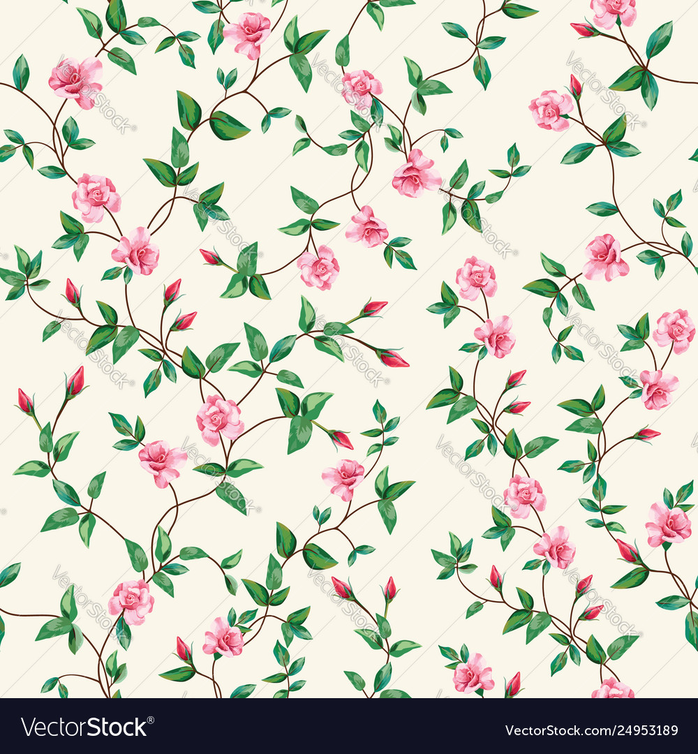 Seamless pattern flower rose branch wallpaper