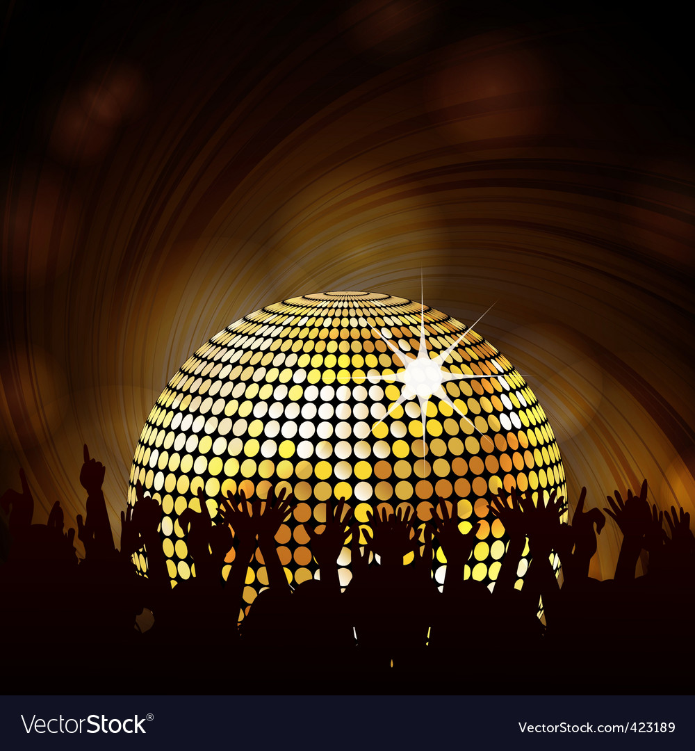 Sparkling disco ball and crowd vector image