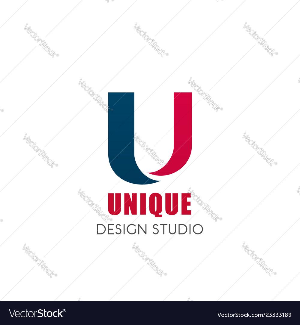 Unique design studio u letter icon