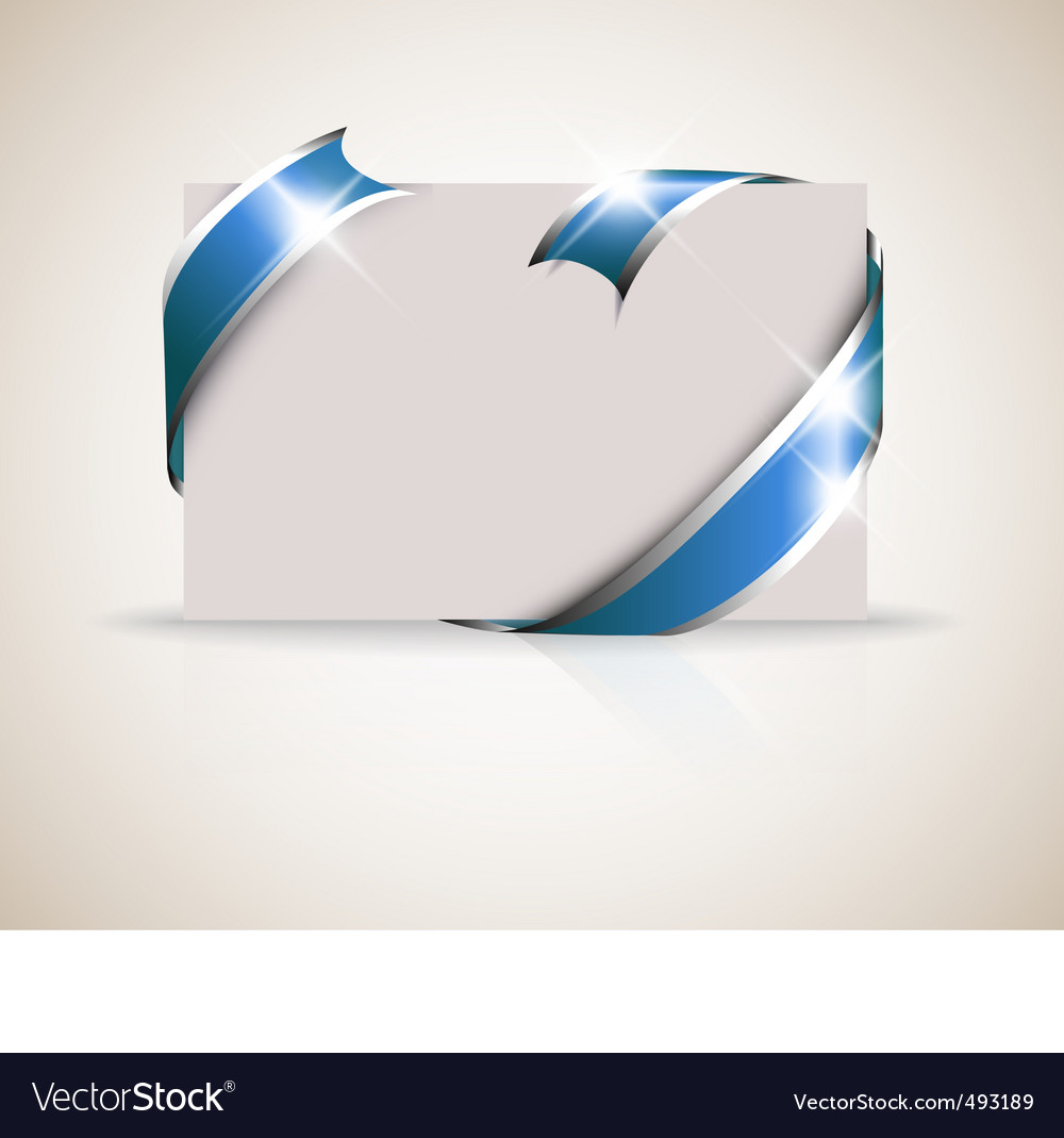 Description wedding card blue ribbon around blank white paper where you