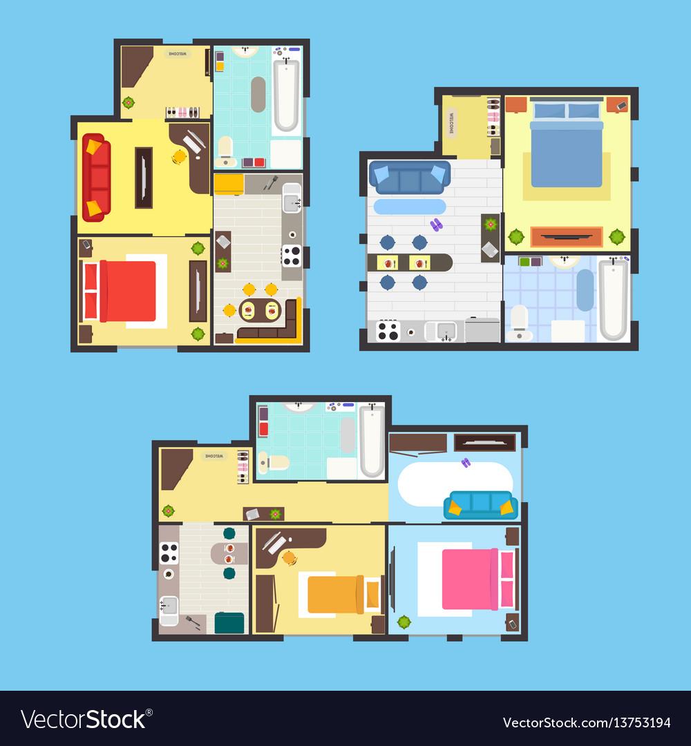Apartment plan with furniture set