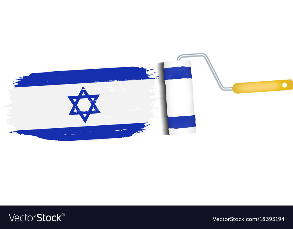 Brush stroke with israel national flag isolated on