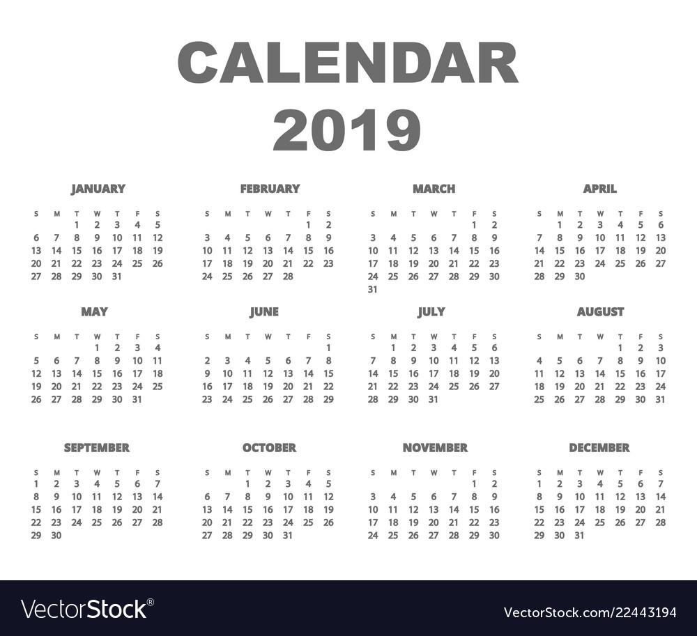 Calendar 2019 back