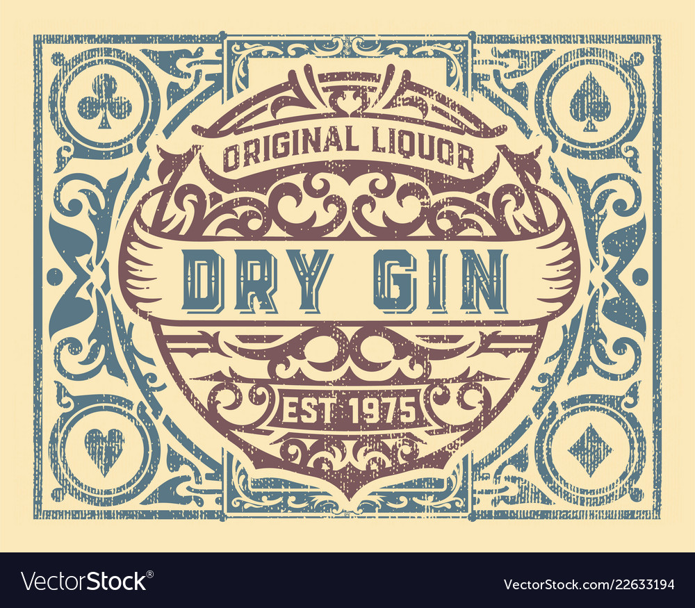 Dirty gin label with floral frame