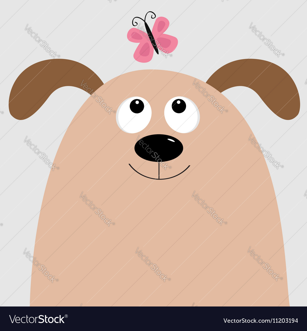 Dog head looking at pink butterfly Cute cartoon
