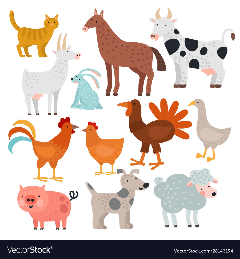 Farm animals cow horse and rabbit dog and