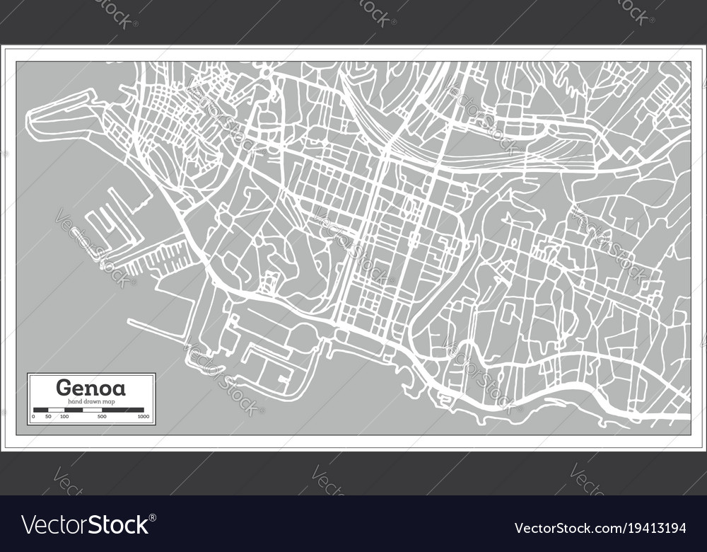 Genoa italy city map in retro style Royalty Free Vector