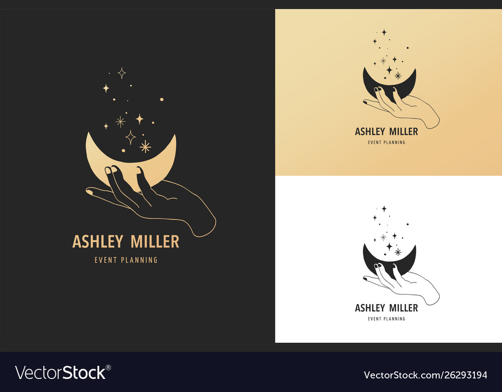 Hand drawn logo and icon hand holding moon