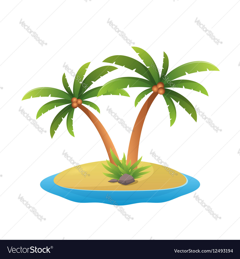 island logo tropical palm trees with sea waves vector image